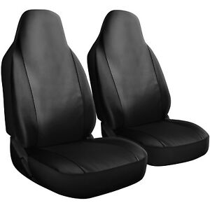 Seat Cover Set Front Integrated Bucket For Car Truck Suv Pu Leather 2pc Black