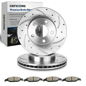 2 Front Drilled Slotted Brake Disc Rotors 4 Pads For 1994 2004 Ford Mustang Gt