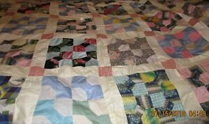 Antique Hand Pieced Quilt Top 67 X 82 1950 S Fabric Bowtie Pattern Vintage