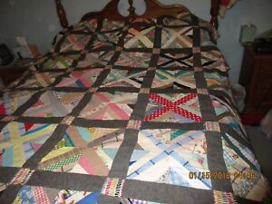 Antique Hand Pieced Quilt Top 87 X 75 1950 S Fabric Unknown Pattern Vintage