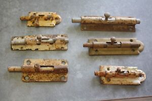 5 Vintage Barrel Bolts Gate Latch Barn Door Lock