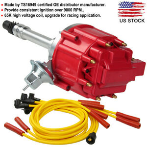 Chevy Sbc Bbc 305 350 Hei Distributor 65k Spark Plug Wire Ignition Combo Kit New