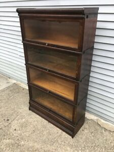 Antique Oak Wernicke Sectional Stacking Barrister Lawyers Bookcase