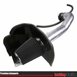 Black Cold Air Intake System Kit Heat Shield For 14 17 Gmc Chevy V8 5 3l 6 2l