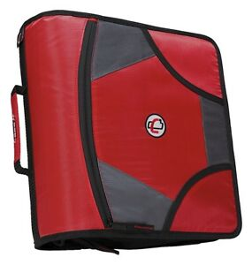 Case it 1590358 Zipper Binder With 5 Tab Files D ring 4 In Red