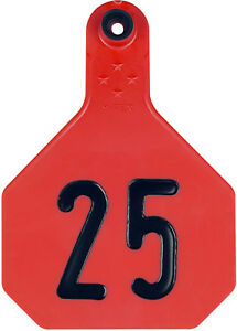 4 Star Large Red Cattle Ear Tags Numbered 26 50