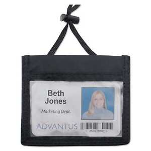 Advantus Id Badge Holder With Convention Neck Pouch Horizontal 4 X 2 1 4 Black