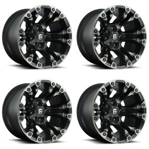 Set 4 20 Fuel Vapor D569 Black Machined Wheels 20x9 8 Lug 8x170 Truck Rims 01mm
