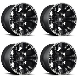 Set 4 22 Fuel Vapor D569 Black Machined Wheels 22x12 5 Lug 5x5 5 5x150 44mm