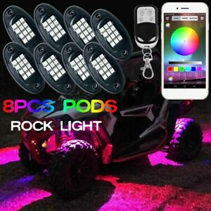 8x Pods Rgb Led Rock Light Wireless Bluetooth Music Control Atv Off Road Truck