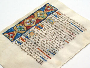Illuminated Manuscript Book Of Hours Leaf Unusual Gemstone Floral Motif Gold
