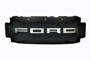 17 19 Ford F250 350 450 Superduty Steel Raptor Style Black Brushed Grille Grill