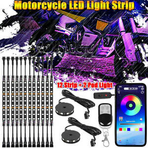 14pcs Motorcycle Led Light Kit Strips Multi color Accent Glow Neon Wheel Pods