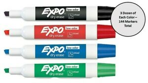 Expo Low odor Markers Asst Pack Black Blue Green Red 3 Dozen Of Each