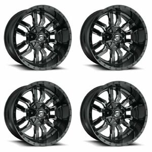 Set 4 22 Fuel Sledge D595 Black Milled Wheels 22x10 5 Lug 5x5 5 5x150 10mm Rims