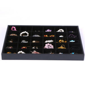 Bracelet Display Tray Jewelry Box Holder Bracelet Organizer 30 Grids Black