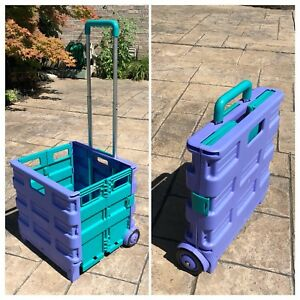 One 1 Utility Crate Wheels Collapsable Rolling Cart Purple Teal Color Collapse