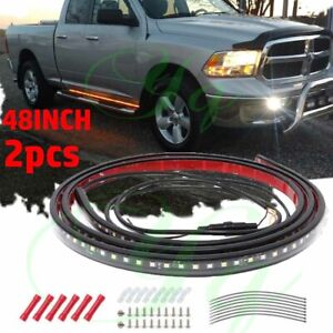 48 Running Board Led Light Strip Side Step Bar For Chevy Dodge Gmc Jeeps Truck