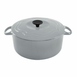 Chantal 5 Quart Porcelain Enameled Covered Cast Iron Dutch Oven Pot Fade Gray