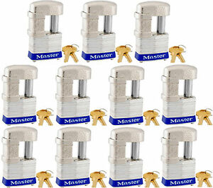 Lock Set By Master 37ka lot Of 11 Keyed Alike Shrouded Laminated Padlocks New