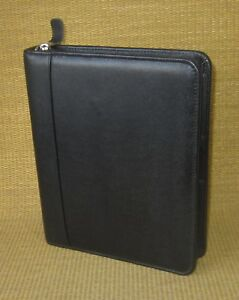 Classic 1 125 Rings Black Leather Franklin Covey Zip Planner binder