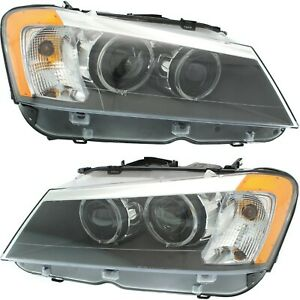 Headlight Set For 2011 2012 2013 2014 Bmw X3 Left And Right Hid With Bulb 2pc
