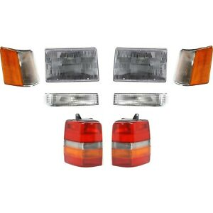 Headlight Kit For 97 98 Jeep Grand Cherokee Left And Right 8pc