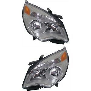 Headlight Set For 2010 2015 Chevrolet Equinox Left And Right Reflector Type 2pc