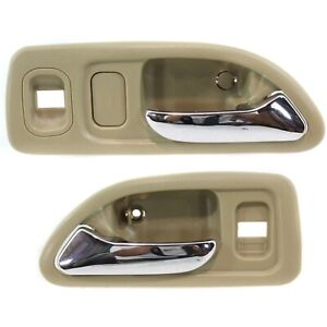 Door Handle Set For 1994 1997 Honda Accord Front Beige W Chrome Lever 2 Pcs