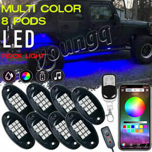 8 Pod Rgb Led Rock Light Under Body Glow Bluetooth For Jeep Off Road Truck Atv