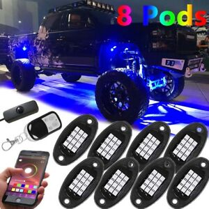 8 Pod Led Rock Light Neon Body Glow Bluetooth Control For Ford Atv Offroad Truck