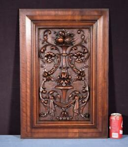 Large French Antique Deep Carved Architectural Panel Door Solid Walnut Wood