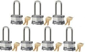 Lock Set By Master 3kalh lot Of 7 Keyed Alike Long 2 Shackle Steel Laminated