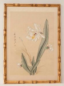 Vintage Chinese Watercolor Painting Cactus Flowers Signed Calligraphy Framed