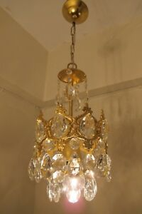 Antique Vintage Small French Basket Style Crystal Chandelier Lamp 1940 S 7 In