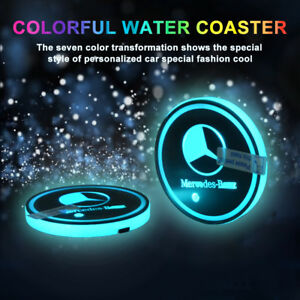 Car Cup Holder Led Pad Mat Atmosphere Interior Light For Mercedes Benz Colorful