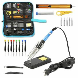 Soldering Iron Kit Welding Tool Adjustable Temperature Desoldering Pump 60w 110v