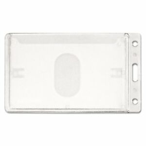 Advantus Frosted Rigid Badge Holder 3 3 8 X 2 1 8 Clear Vertical 25 box