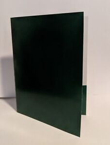 50 Green And White 12 X 9 Standard Pocket Folders W business Card Slits
