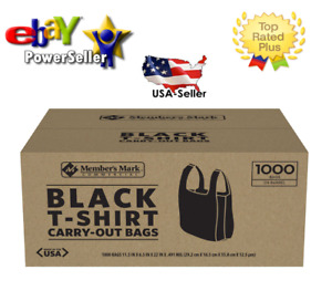 Member s Mark Black T shirt Carryout Bags 1 000 Ct best Plastic Quality