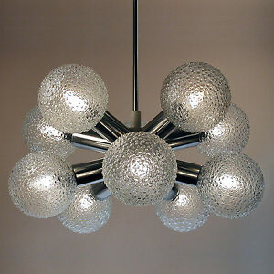 Vintage Sputnik Atomic Starburst Lamp Chandelier Hanging Light Glass Chrome 60s