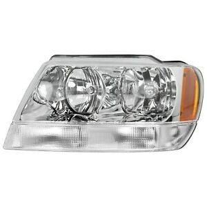 Headlight For 99 2004 Jeep Grand Cherokee Left Chrome Housing With Bulb