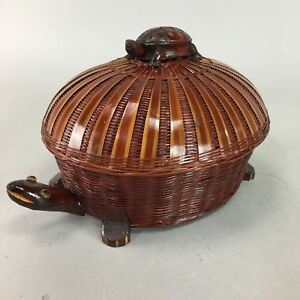Japanese Bamboo Lacquer Ware Lidded Container Vtg Basket Turtle Wood Lw968