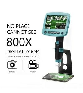 800x Usb Digital Microscope Camera 4 3 Lcd Soldering Microscopes 8led Magnifier