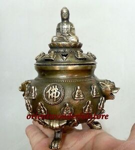 Collection Primitive Old Bronze Buddha Folk Lucky Statues Incense Burners