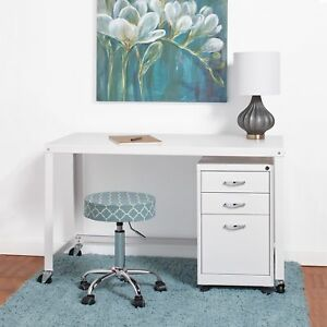 Porch Den Rockridge Industrial Modern White 48 inch Mobile Desk Rolling Cart