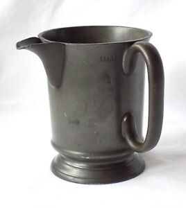 Antique Victorian Pewter 1 Pint Spouted Mug Measure Davidson St Georges Circus
