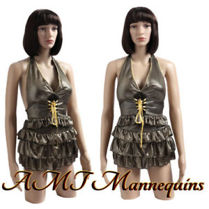 Female Mannequin Dress Form rotated Arms Head Plastic Torso ft 2c 2wigs