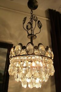 Antique Vintage Small French Basket Style Crystal Chandelier Lamp 1960 S 10 In