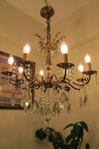 Antique Vintage French 8 Arms Crystal Chandelier Lamp Light Luster 1940 S 23 In